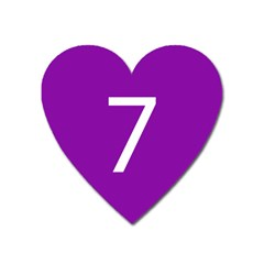 Number 7 Purple Heart Magnet by Mariart