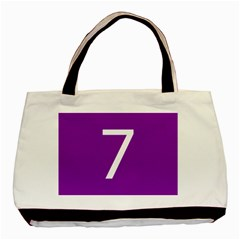 Number 7 Purple Basic Tote Bag (two Sides) by Mariart