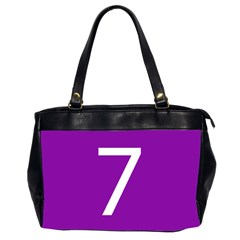 Number 7 Purple Office Handbags (2 Sides)  by Mariart