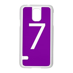 Number 7 Purple Samsung Galaxy S5 Case (white) by Mariart