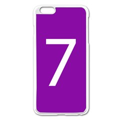 Number 7 Purple Apple Iphone 6 Plus/6s Plus Enamel White Case by Mariart