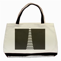 Minimalist Stairs White Grey Basic Tote Bag (two Sides) by Mariart