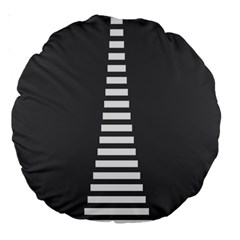 Minimalist Stairs White Grey Large 18  Premium Round Cushions by Mariart
