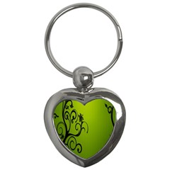 Illustration Wallpaper Barbusak Leaf Green Key Chains (heart)  by Mariart