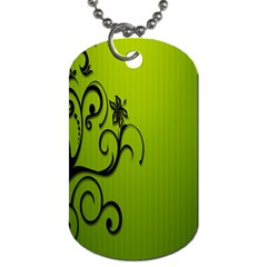 Illustration Wallpaper Barbusak Leaf Green Dog Tag (one Side) by Mariart