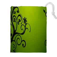 Illustration Wallpaper Barbusak Leaf Green Drawstring Pouches (xxl) by Mariart