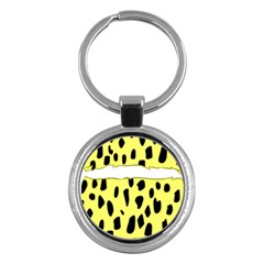 Leopard Polka Dot Yellow Black Key Chains (round)  by Mariart