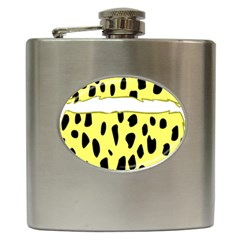 Leopard Polka Dot Yellow Black Hip Flask (6 Oz) by Mariart