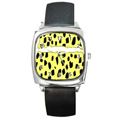 Leopard Polka Dot Yellow Black Square Metal Watch by Mariart