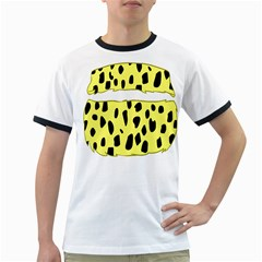 Leopard Polka Dot Yellow Black Ringer T-shirts by Mariart
