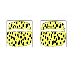 Leopard Polka Dot Yellow Black Cufflinks (square) by Mariart
