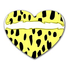 Leopard Polka Dot Yellow Black Heart Mousepads by Mariart