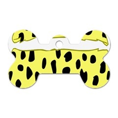 Leopard Polka Dot Yellow Black Dog Tag Bone (one Side) by Mariart