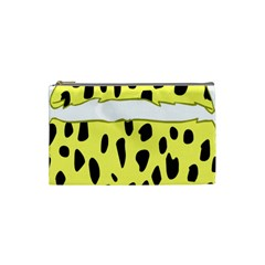 Leopard Polka Dot Yellow Black Cosmetic Bag (small)  by Mariart