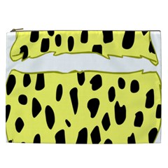 Leopard Polka Dot Yellow Black Cosmetic Bag (xxl)  by Mariart
