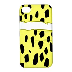 Leopard Polka Dot Yellow Black Apple Iphone 4/4s Hardshell Case With Stand by Mariart