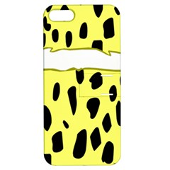 Leopard Polka Dot Yellow Black Apple Iphone 5 Hardshell Case With Stand
