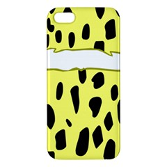 Leopard Polka Dot Yellow Black Apple Iphone 5 Premium Hardshell Case by Mariart