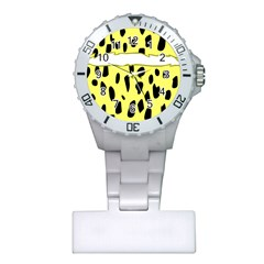 Leopard Polka Dot Yellow Black Plastic Nurses Watch by Mariart