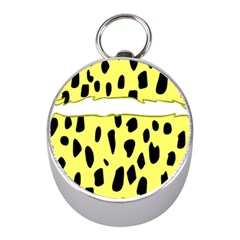 Leopard Polka Dot Yellow Black Mini Silver Compasses by Mariart
