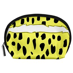 Leopard Polka Dot Yellow Black Accessory Pouches (large)  by Mariart