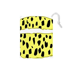 Leopard Polka Dot Yellow Black Drawstring Pouches (small)  by Mariart