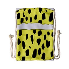 Leopard Polka Dot Yellow Black Drawstring Bag (small) by Mariart