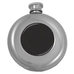 Oklahoma Circle Black Glitter Effect Round Hip Flask (5 Oz) by Mariart