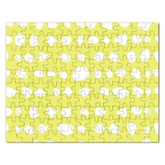 Polkadot White Yellow Rectangular Jigsaw Puzzl by Mariart