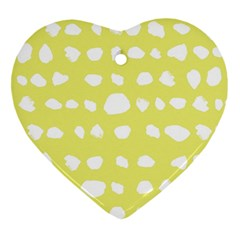 Polkadot White Yellow Heart Ornament (two Sides) by Mariart
