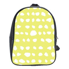 Polkadot White Yellow School Bags (xl)  by Mariart