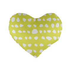 Polkadot White Yellow Standard 16  Premium Flano Heart Shape Cushions by Mariart