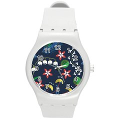 Origami Flower Floral Star Leaf Round Plastic Sport Watch (m) by Mariart