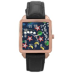 Origami Flower Floral Star Leaf Rose Gold Leather Watch  by Mariart