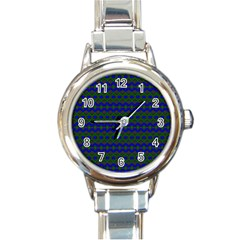 Split Diamond Blue Green Woven Fabric Round Italian Charm Watch by Mariart