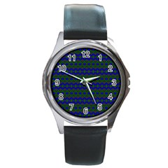 Split Diamond Blue Green Woven Fabric Round Metal Watch by Mariart