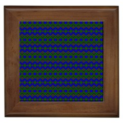 Split Diamond Blue Green Woven Fabric Framed Tiles by Mariart