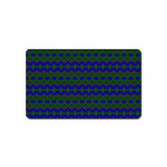 Split Diamond Blue Green Woven Fabric Magnet (name Card) by Mariart