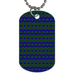Split Diamond Blue Green Woven Fabric Dog Tag (one Side) by Mariart