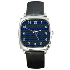 Split Diamond Blue Green Woven Fabric Square Metal Watch by Mariart