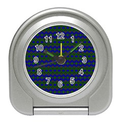 Split Diamond Blue Green Woven Fabric Travel Alarm Clocks by Mariart
