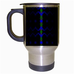 Split Diamond Blue Green Woven Fabric Travel Mug (silver Gray) by Mariart