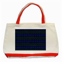 Split Diamond Blue Green Woven Fabric Classic Tote Bag (red) by Mariart