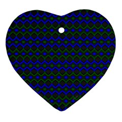 Split Diamond Blue Green Woven Fabric Heart Ornament (two Sides) by Mariart
