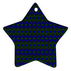Split Diamond Blue Green Woven Fabric Star Ornament (two Sides) by Mariart