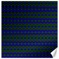Split Diamond Blue Green Woven Fabric Canvas 16  X 16   by Mariart