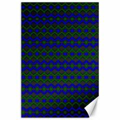 Split Diamond Blue Green Woven Fabric Canvas 24  X 36  by Mariart