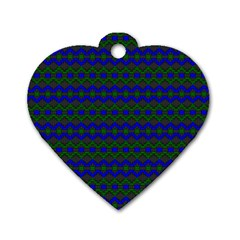 Split Diamond Blue Green Woven Fabric Dog Tag Heart (two Sides) by Mariart