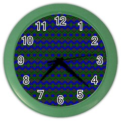 Split Diamond Blue Green Woven Fabric Color Wall Clocks by Mariart