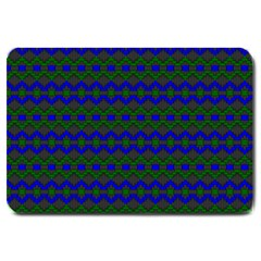 Split Diamond Blue Green Woven Fabric Large Doormat  by Mariart
